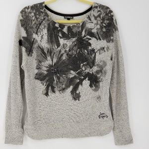 Express Floral Print Long Sleeve Sweater